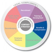 Multicolored wheel divided into 7 equal sections Recruitment, Training and Development, Benifits and Compensation, Communicating, Employee Relations, Recordkeeping, and Health safety and security with Legal compliance written on the outer edge and company strategy in the center benefits and compensation is emphasized