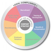 Multicolored wheel divided into 7 equal sections Recruitment, Training and Development, Benifits and Compensation, Communicating, Employee Relations, Recordkeeping, and Health safety and security with Legal compliance written on the outer edge and company strategy in the center the outer edge is emphasized