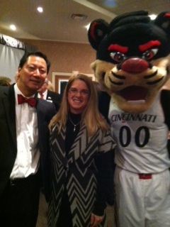 strategic HR inc. president, Robin Throckmorton, along with University of Cincinnati president, Santa Ono, and the Bearcat