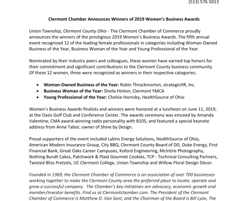 Press Release announcing Robin Throckmorton, president of strategic HR inc,, is winner of Woman Owned Business of the Year - Awarded by Clermont Chamber of Commerce 2019
