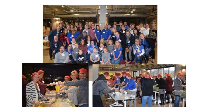 Photo collage of strategic HR inc. team and clients volunteering at Feed the Funnel (2018)
