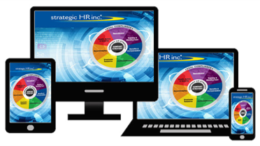 Image showing strategic HR inc.'s wheel of HR Services on computers, tablet, and phone