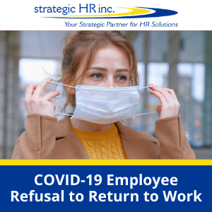 COVID-19 Employee Refusal to Return to Work- image of employee putting on mask (300px)