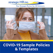 COVID-19 Sample Policies & Templates - Image of employee putting on mask